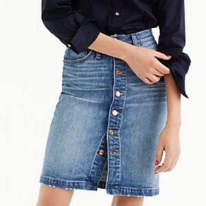 JCrew Button-Front Jean Skirt